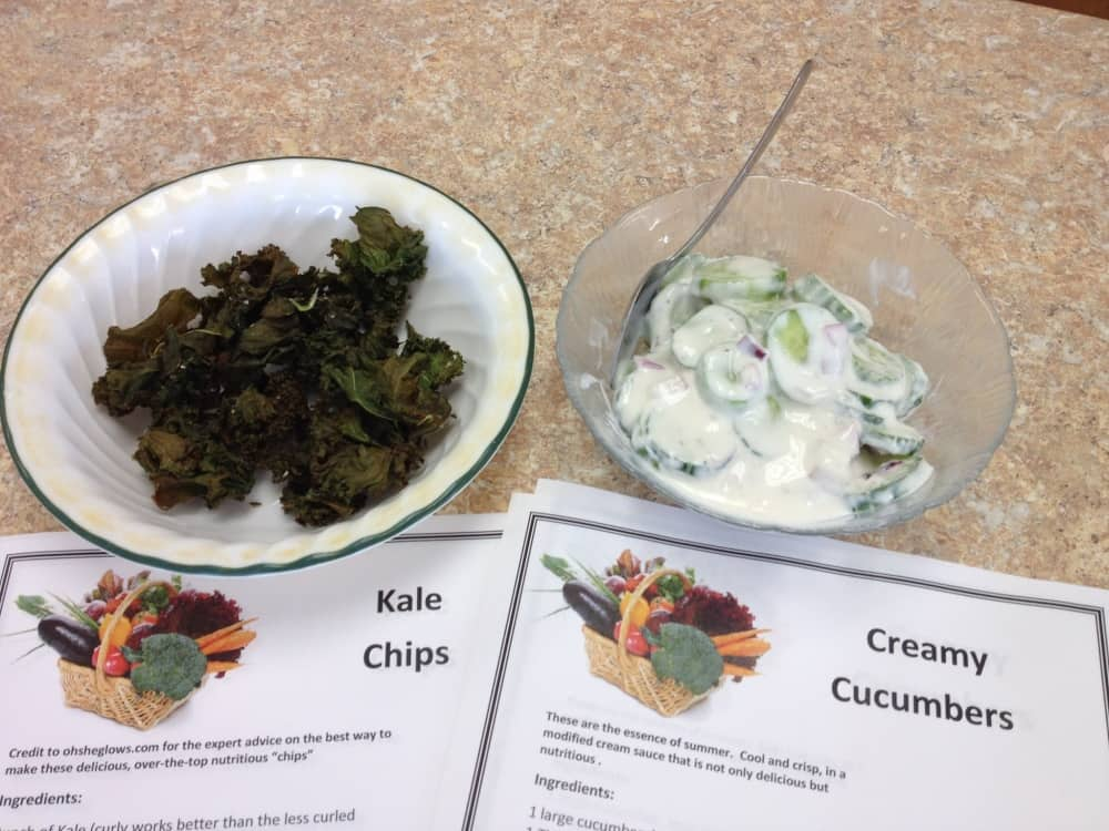 Kale Chips & Creamy Cucumbers